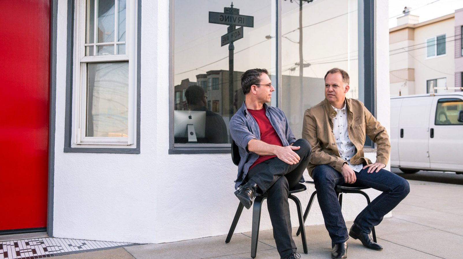 Photo of BigMouth partners Todd Spina and Mike Yoffie in front of the office in San Francisco's Outerlands
